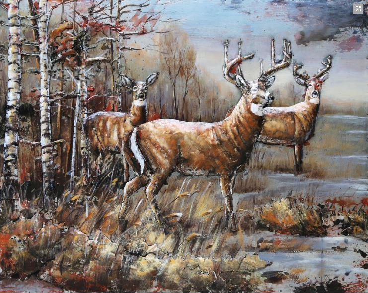 """Metalen Schilderij """"Tocht van de herten"""""""