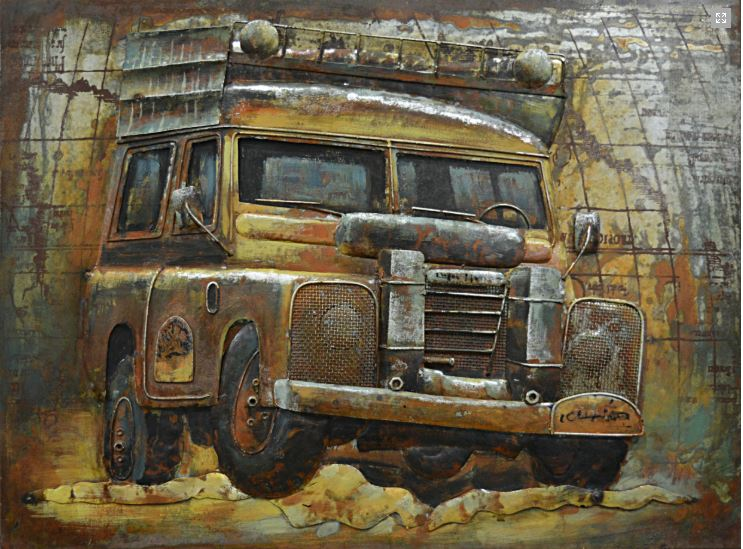 "Metalen schilderij ""Adventurous Travel Jeep"""