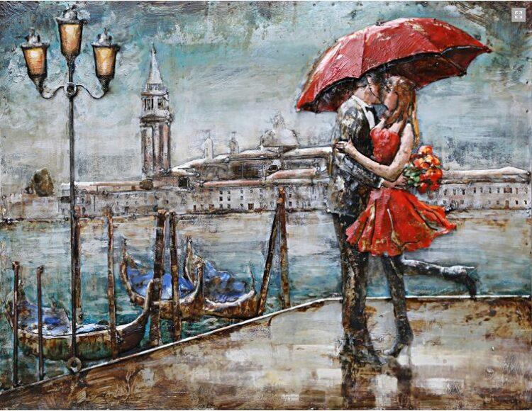 """Metalen schilderij """"Ontmoeting in Venice"""""""
