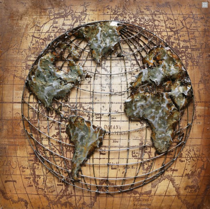"Metalen schilderij ""Around the World"""
