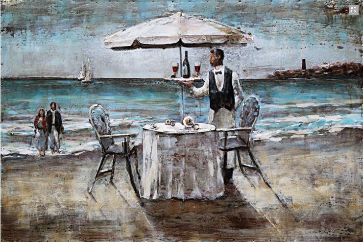 """Metalen schilderij """"Chique diner op het strand"""""""