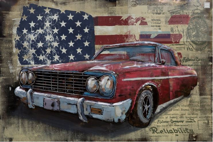 "Metalen schilderij ""Classic Car USA"""