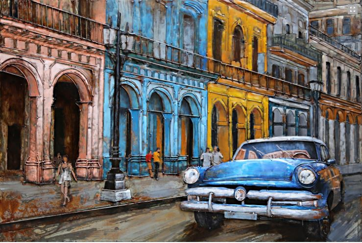 "Metalen schilderij ""Driving on the streets of Cuba"""