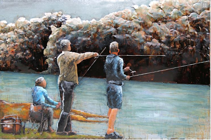 "Metalen schilderij ""Family fishing at sea"""