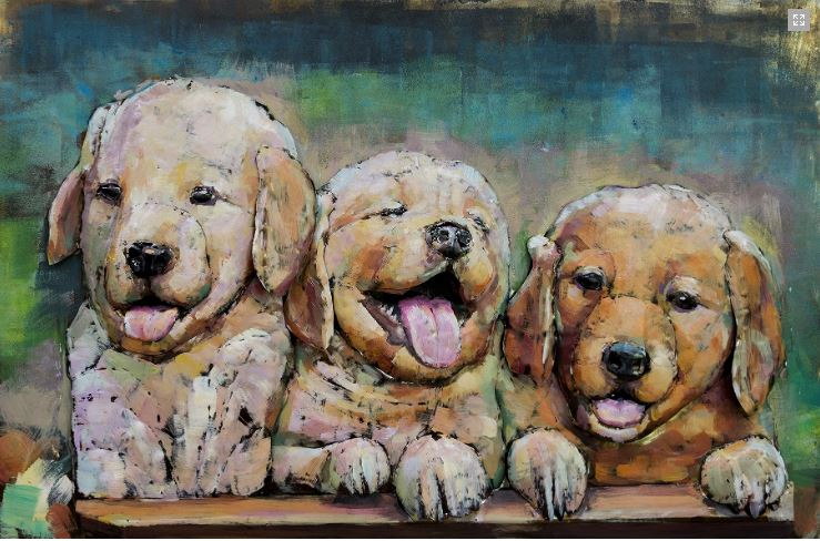 "Metalen schilderij ""Golden Retriever en Labrador Pups"""