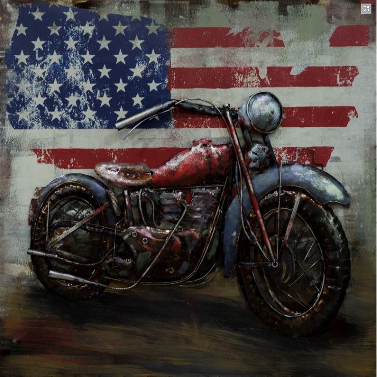 "Metalen schilderij ""Harley Davidson USA"""