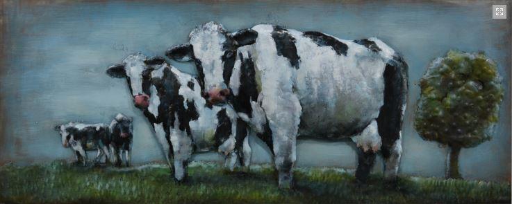 """Metalen schilderij """"Koeien in het weiland"""""""