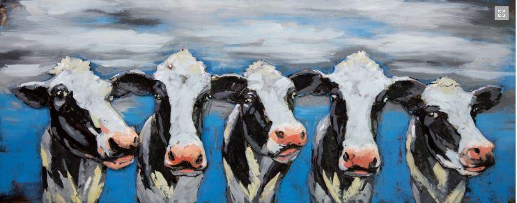 """Metalen schilderij """"Koeien op een rij"""""""