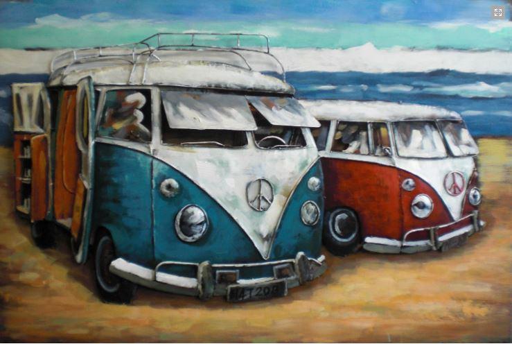 """Metalen schilderij """"Mercedes-Benz Beach Camping"""""""