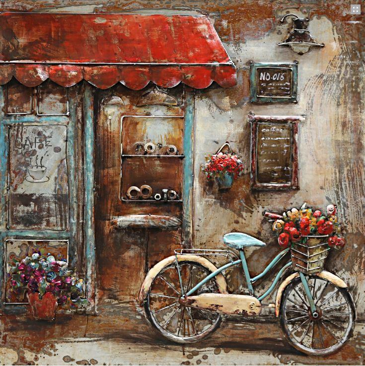 """Metalen schilderij """"Met de fiets bij de koffie shop"""""""