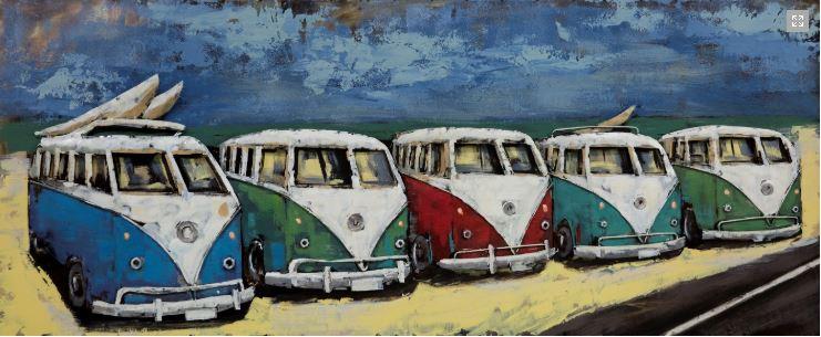 """Metalen schilderij """"Naar het strand om te surfen"""""""