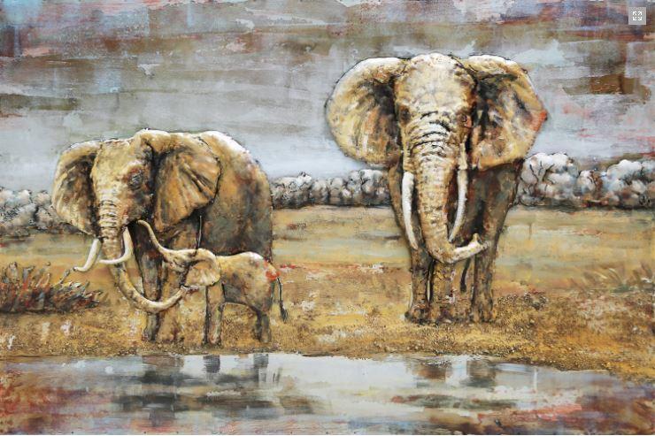 """Metalen schilderij """"Olifanten gezin in Afrika """""""