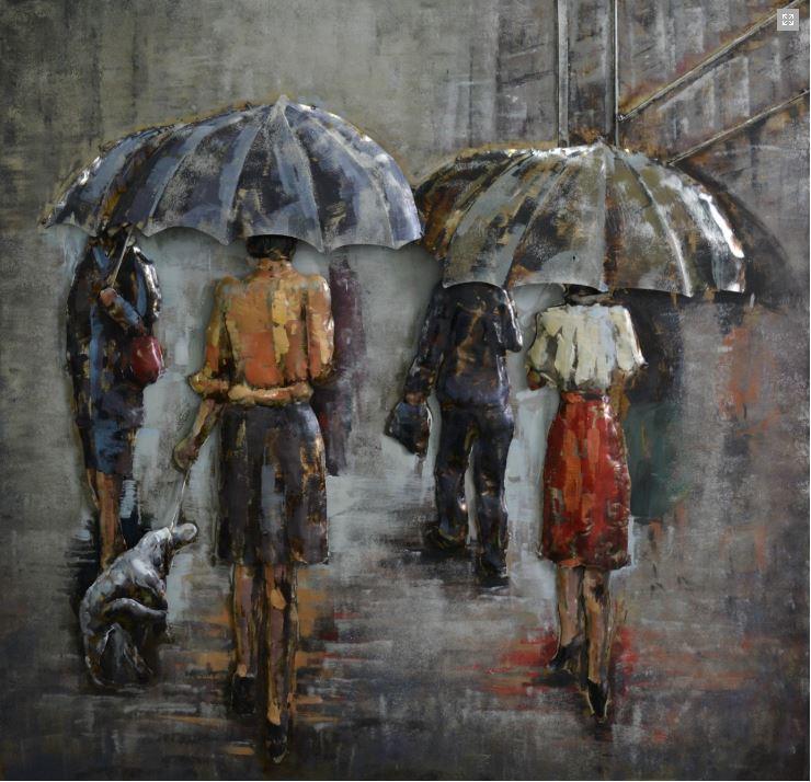 """Metalen schilderij """"Onderweg naar het werk in de regen"""""""