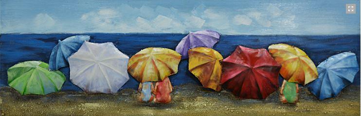 """Metalen schilderij """"Op het strand met de paraplu"""""""