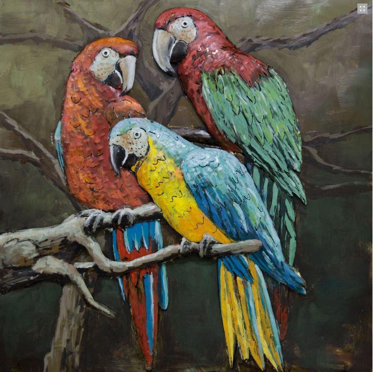 """Metalen schilderij """"Papegaaien gezellig bij elkaar"""""""