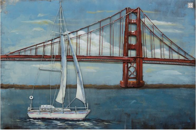 "Metalen schilderij ""Sailing near the Golden Gate Bridge"""