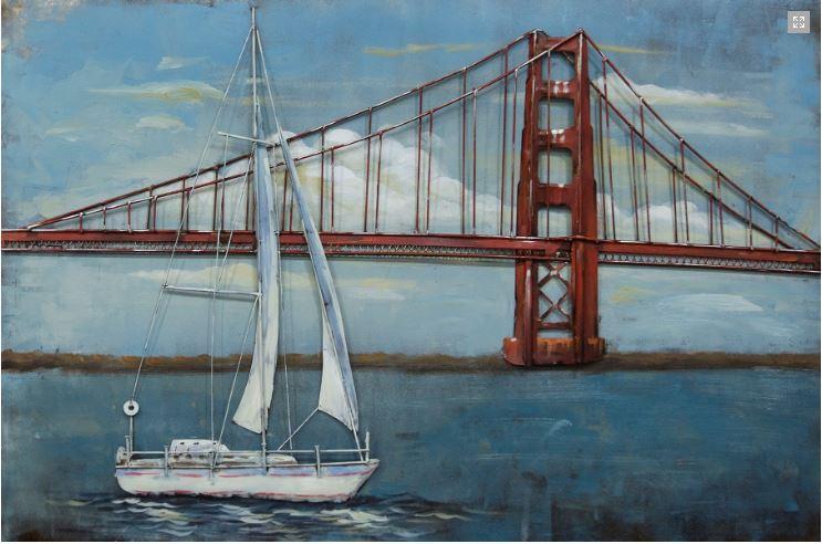 """Metalen schilderij """"Sailing near the Golden Gate Bridge"""""""