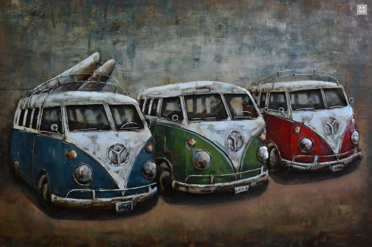 "Metalen schilderij ""Surfing Roadtrip with Mercedes Camper"""