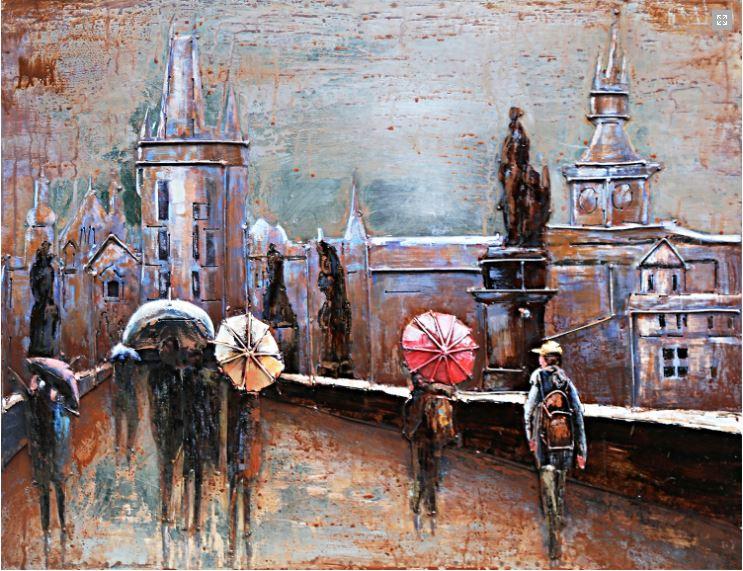 """Metalen schilderij """"Wandeling met de paraplu"""""""