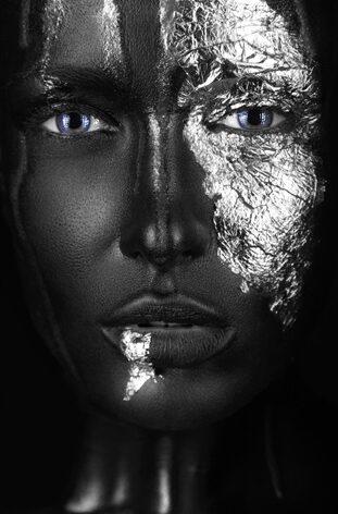 """Aluminium schilderij """"Fingers Zwart en Wit"""" van Mondiart"""