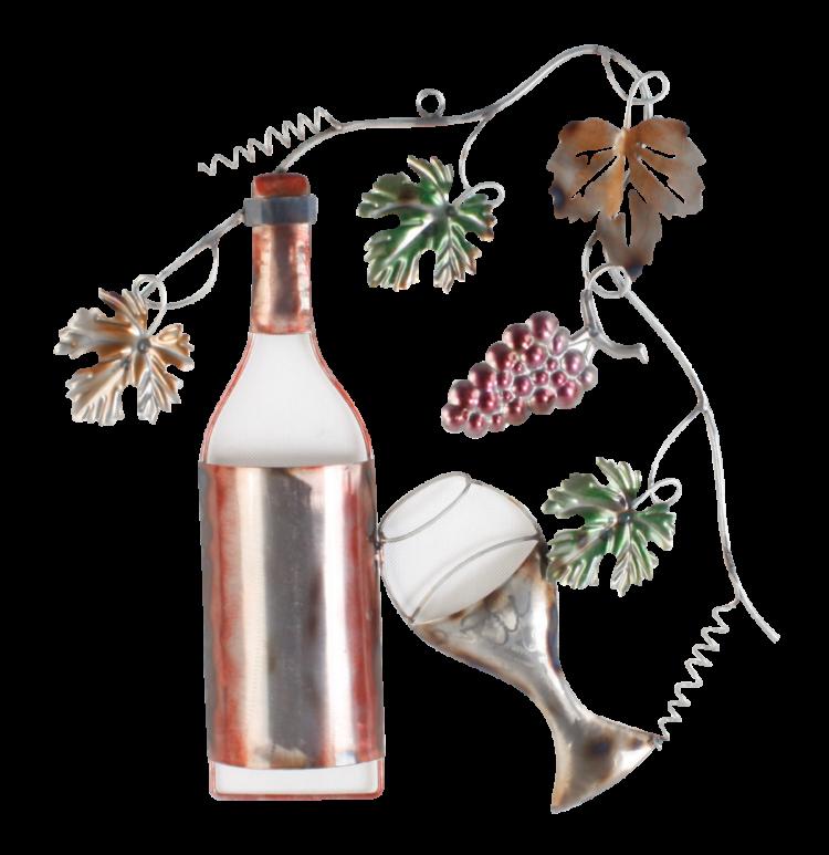 """Metalen wanddecoratie """"Glass of Wine"""""""