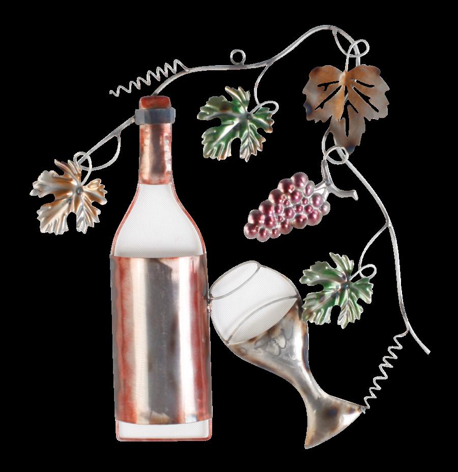 Metalen wanddecoratie Glass of Wine