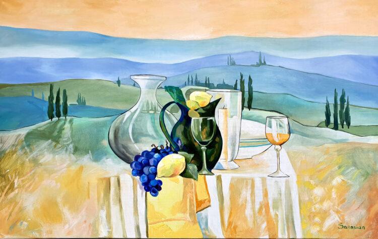 """Schilderij """"Landschap in Italie"""""""