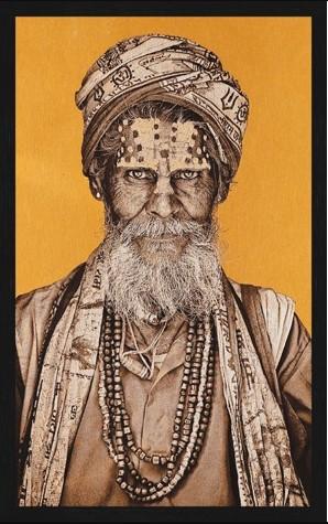 """Portrait Gobelin """"Bandu Baba Bright"""" van Mondiart"""