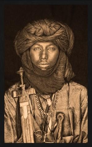 "Portrait Gobelin ""Dawo Fulani Tribe Gold"" van Mondiart"