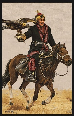 """Portrait Gobelin """"Eaglehunter on horse"""" van Mondiart"""