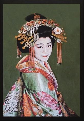 """Portrait Gobelin """"Geisha Green"""" van Mondiart"""