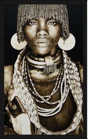 """Portrait Gobelin """"Hamar Woman Ethiopia"""" van Mondiart"""