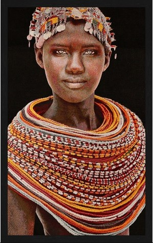 "Portrait Gobelin ""Samburu Girl Red"" van Mondiart"