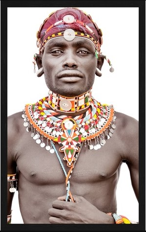 "Portrait Gobelin ""Samburu Man Bright"" van Mondiart"