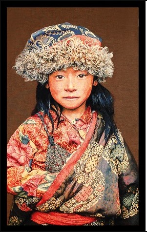 "Portrait Gobelin ""Tibetan Child Taupe"" van Mondiart"