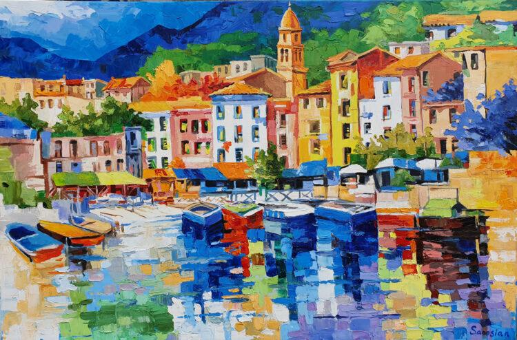 """Schilderij """"Toscaans havenstadje"""""""