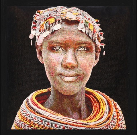 Vierkant Gobelin Samburu Girl Red van Mondiart