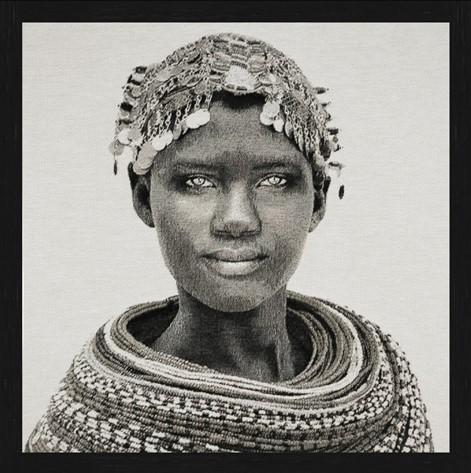 "Vierkant Gobelin ""Samburu Girl"" van Mondiart"