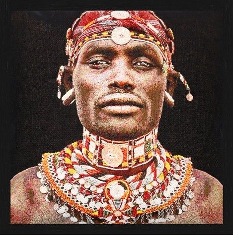 "Vierkant Gobelin ""Samburu Man"" van Mondiart"