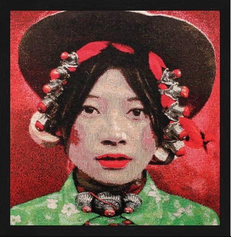 """Vierkant Gobelin """"Tibetian Girl"""" van Mondiart"""