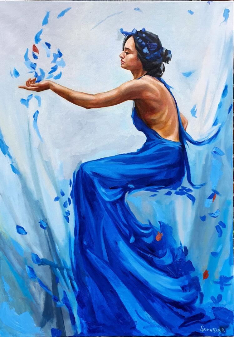 """Schilderij """"Vrouw met blauwe jurk"""""""