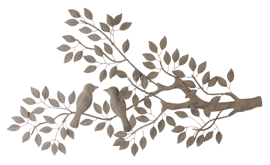 Metalen wanddecoratie Lovebirds