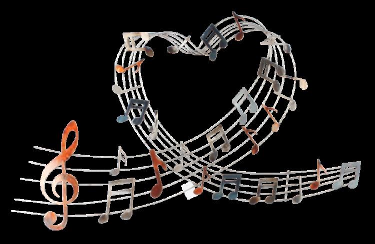 "Metalen wanddecoratie ""Music heartbeats"""