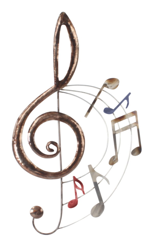 "Metalen wanddecoratie ""Treble Clef Jazz"""