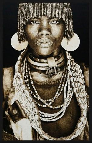 """Portrait Gobelin """"Hamar Woman Ethiopia Sepia"""" van Mondiart"""