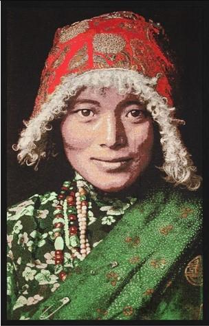 "Portrait Gobelin ""Tibetian Woman"" van Mondiart"