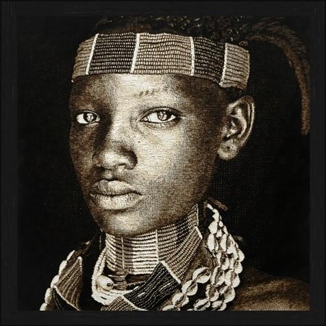 """Vierkant Gobelin """"Hamar Lady Ethiopia Sepia"""" van Mondiart"""