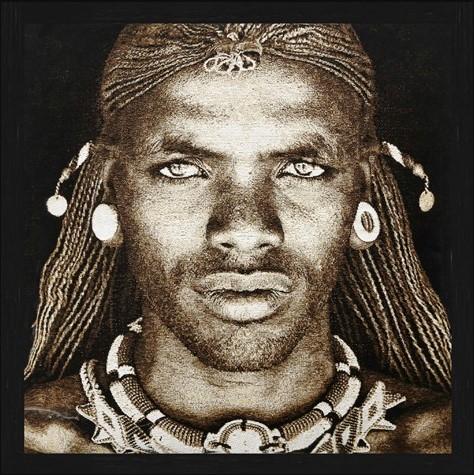 """Vierkant Gobelin """"Samburu Warrior Kenya Sepia"""" van Mondiart"""