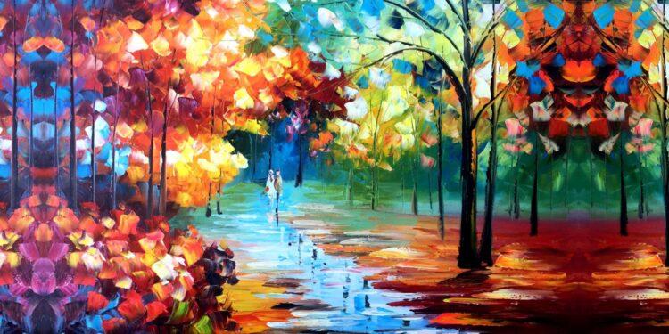 Kleurrijke boswandeling panorama