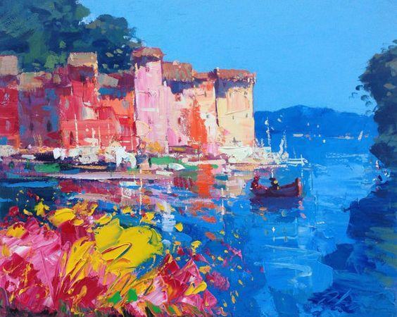 """Schilderij """"Kleurrijk Havenstadje blauw"""""""